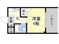 ツジムラコーポ 4階ワンルームの間取り