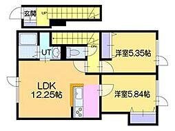[テラスハウス] 北海道江別市弥生町 の賃貸【/】の間取り
