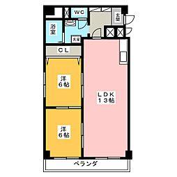 茶屋ヶ坂コータース 602号[6階]の間取り