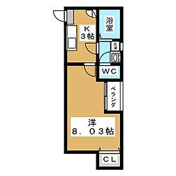 クレフラスト東仙台A[2階]の間取り