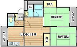 ファミール津之江[3階]の間取り
