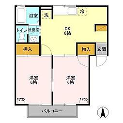 セジュール藤塚[B102号室]の間取り