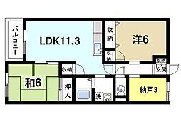 シャトー三島 3階2LDKの間取り