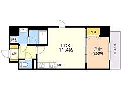 (仮)平尾1丁目マンション 3階1LDKの間取り