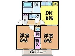 愛媛県東温市田窪の賃貸アパートの間取り
