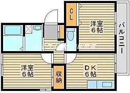 岡山県岡山市南区福富西3丁目の賃貸アパートの間取り