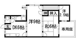 兵庫県宝塚市御殿山2丁目の賃貸アパートの間取り