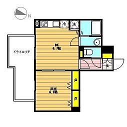 la Pente(ラ・ポント) 1階1DKの間取り