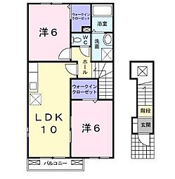 セレノ吉田[0201号室]の間取り