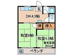 京都府宇治市木幡北島の賃貸アパートの間取り