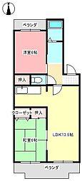 愛知県尾張旭市南原山町赤土の賃貸アパートの間取り