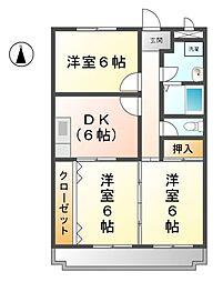 愛知県あま市甚目寺須原の賃貸マンションの間取り