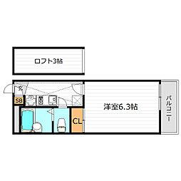 大阪府大阪市鶴見区焼野1丁目の賃貸マンションの間取り