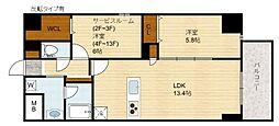 Domizil FUKU(ドミツィール福)[9階]の間取り
