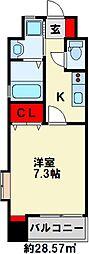 プレミアJONO 4階1Kの間取り