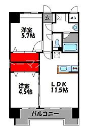 JR鹿児島本線 千早駅 徒歩4分の賃貸マンション 2階2LDKの間取り