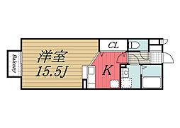 千葉県成田市橋賀台1丁目の賃貸アパートの間取り