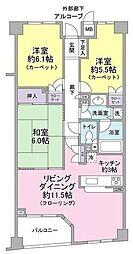 小田急小田原線 参宮橋駅 徒歩1分の賃貸マンション 4階3LDKの間取り