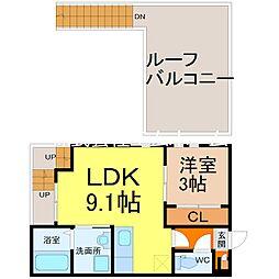 名古屋市営東山線 本山駅 徒歩11分の賃貸アパート 2階1LDKの間取り