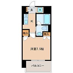 仙台市地下鉄東西線 大町西公園駅 徒歩7分の賃貸マンション 9階1Kの間取り