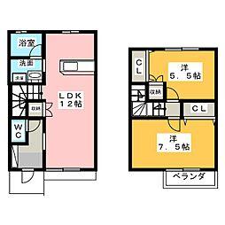 [テラスハウス] 愛知県名古屋市瑞穂区雁道町4丁目 の賃貸【/】の間取り