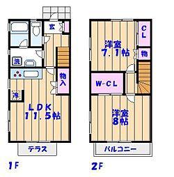 [テラスハウス] 千葉県市川市妙典4丁目 の賃貸【/】の間取り