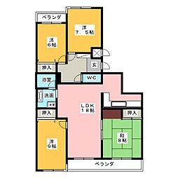 三旺マンション密柑山303[3階]の間取り