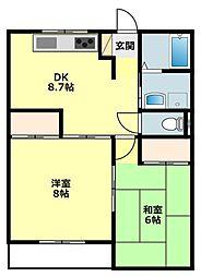 愛知県岡崎市洞町の賃貸アパートの間取り