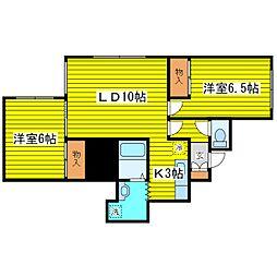 北海道札幌市東区北二十八条東14丁目の賃貸アパートの間取り