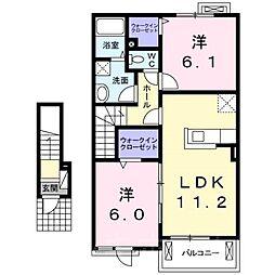 広島県安芸郡熊野町初神2丁目の賃貸アパートの間取り