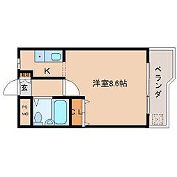 近鉄京都線 平城駅 徒歩18分の賃貸マンション 1階ワンルームの間取り
