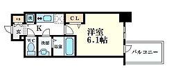 プレサンス心斎橋クオーレ 3階1Kの間取り
