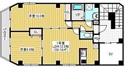 東京メトロ銀座線 浅草駅 徒歩10分の賃貸マンション 9階2LDKの間取り