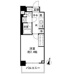 JR総武線 亀戸駅 徒歩3分の賃貸マンション 6階1Kの間取り