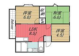 京成本線 公津の杜駅 徒歩25分の賃貸アパート 1階3LDKの間取り