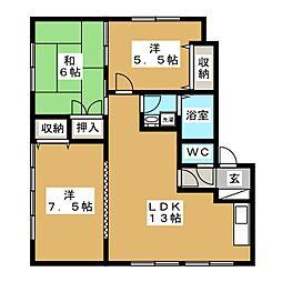 メイユール中央B[1階]の間取り