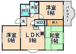 兵庫県伊丹市荒牧1丁目の賃貸マンションの間取り