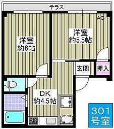 野村マンション[301号室]の間取り