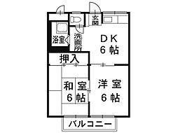 長野県松本市筑摩3丁目の賃貸アパートの間取り