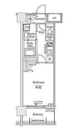 新交通ゆりかもめ 新豊洲駅 徒歩22分の賃貸マンション 2階1Kの間取り