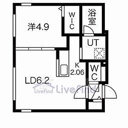 札幌市営東豊線 月寒中央駅 徒歩4分の賃貸マンション 4階1LDKの間取り