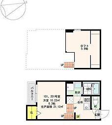 JR総武線 新検見川駅 徒歩10分の賃貸アパート 1階ワンルームの間取り