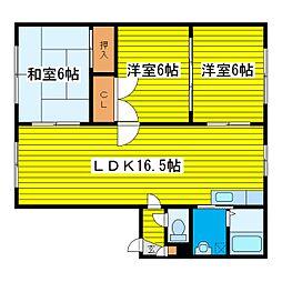 北海道札幌市東区本町二条6丁目の賃貸アパートの間取り