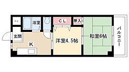 愛知県尾張旭市東本地ヶ原町3丁目の賃貸アパートの間取り