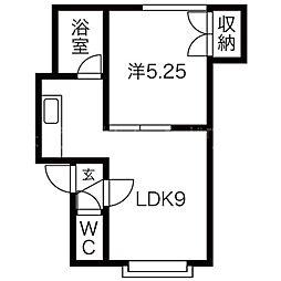 北海道札幌市西区八軒十条西2丁目の賃貸アパートの間取り