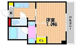 岡山県岡山市北区大供1丁目の賃貸マンションの間取り