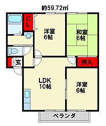 ウィンドワード苅田 A[202号室]の間取り