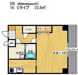 SR島之内 4階1Kの間取り