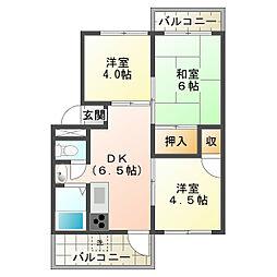 上高丸厚生年金住宅3号棟[1階]の間取り