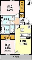 大阪府高槻市庄所町の賃貸アパートの間取り